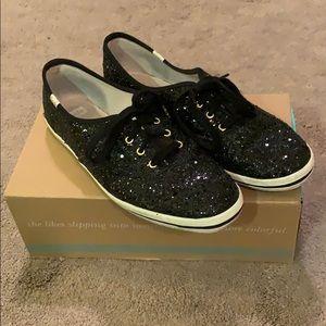 Kate Spade x Keds black glitter sneakers